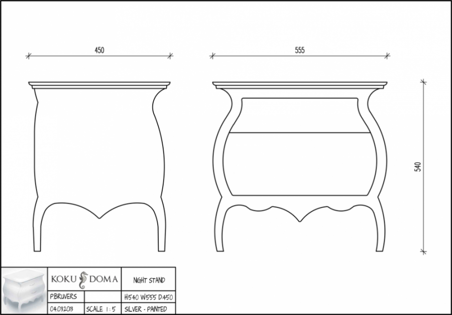Designer piece technical drawing